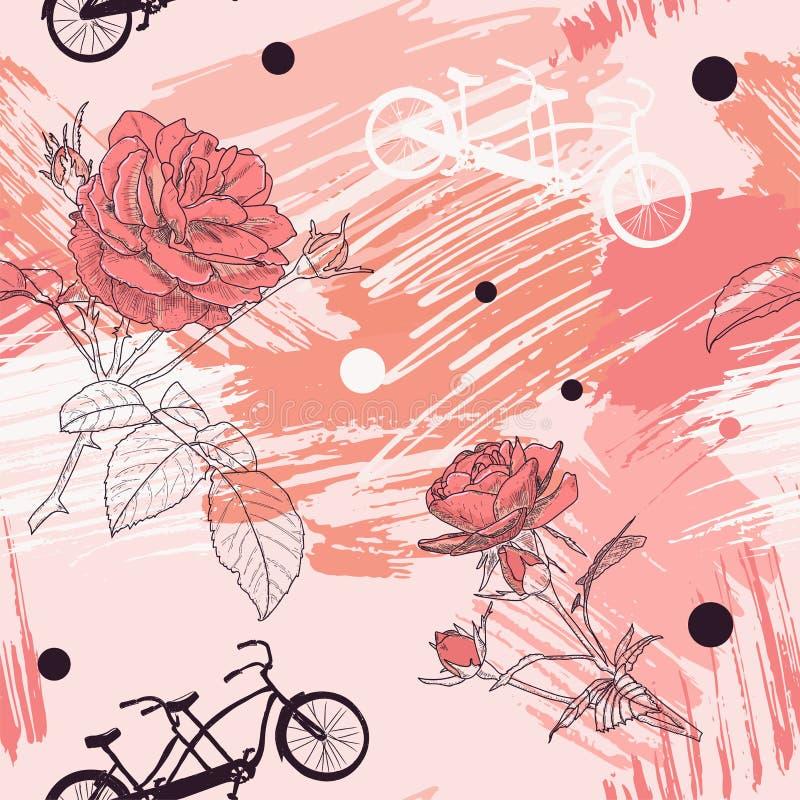 El modelo inconsútil romántico hermoso con las bicicletas tándem, rosas y puntos en acuarela abstracta mancha libre illustration