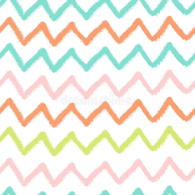 El modelo inconsútil simple del vector con los creyones dibuja zigzag del color stock de ilustración