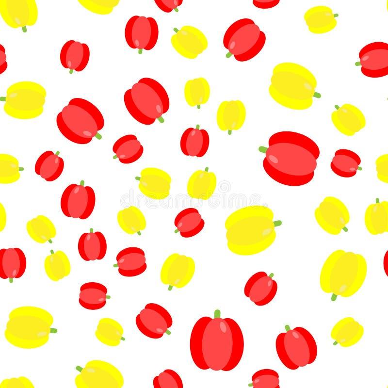 El modelo inconsútil Sistema de la verdura Paprika Amarillo y rojo stock de ilustración