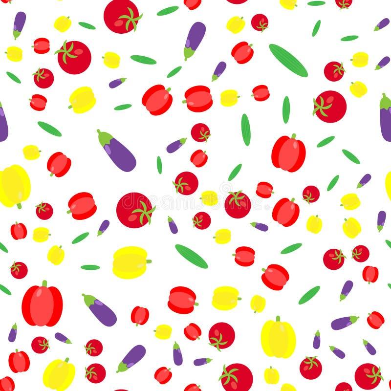 El modelo inconsútil Sistema de la verdura Pepinos, tomates, paprikas ilustración del vector