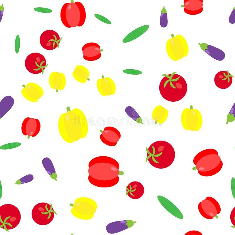 El modelo inconsútil Sistema de la verdura Pepinos, tomates, paprikas stock de ilustración