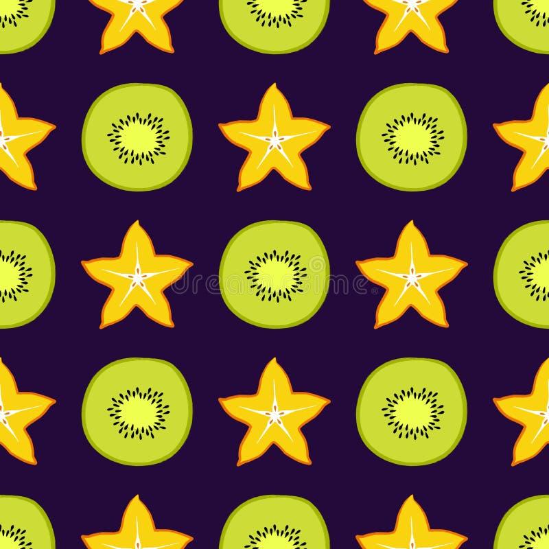 El modelo inconsútil tropical del vector con el kiwi y el carambole cortó la fruta del ‹del †del ‹del †Diseño de moda del ver stock de ilustración