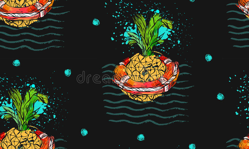 El modelo inconsútil tropical dibujado mano del extracto del vector con la piña en salvavidas rojo en el mar agita, las texturas  stock de ilustración