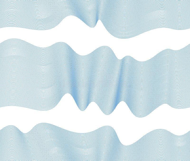 El modelo incons?til del vector art?stico con las ondas estilizadas, curva azul del color alinea el fondo abstracto del embaldosa libre illustration