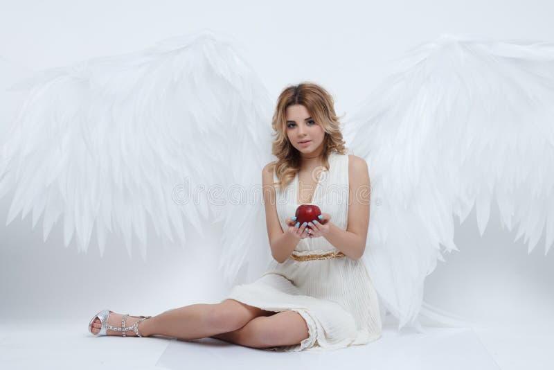 El modelo joven hermoso con ángel grande se va volando sentarse en el estudio fotografía de archivo