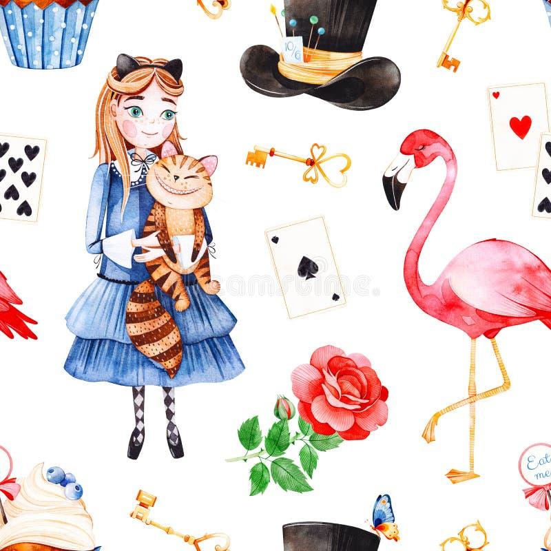 El modelo mágico con precioso subió, los naipes, sombrero, flamenco libre illustration