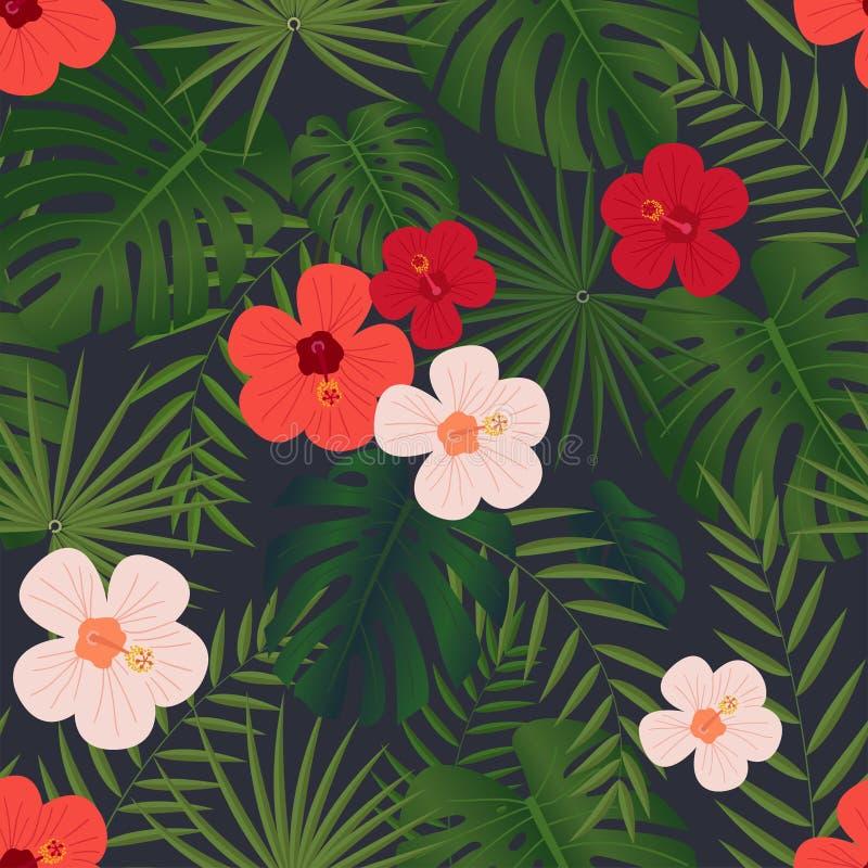 El modelo, el monstera y las hojas de palma tropicales inconsútiles, chino brillante subieron las flores en un fondo negro stock de ilustración
