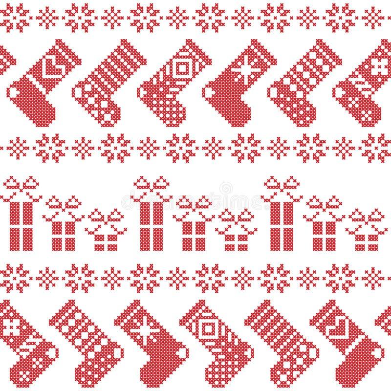 El modelo nórdico escandinavo de la Navidad con las medias, estrellas, copos de nieve, presenta en puntada cruzada en rojo ilustración del vector