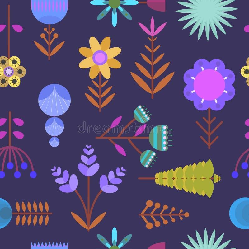 El modelo oscuro agradable con color simple plano florece ilustración del vector