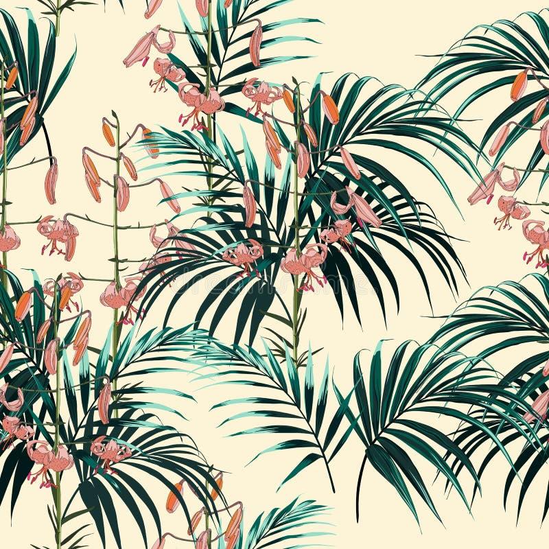 El modelo tropical del vector inconsútil con las hojas de palma verde oscuro y los lirios anaranjados tropicales florece en fondo stock de ilustración