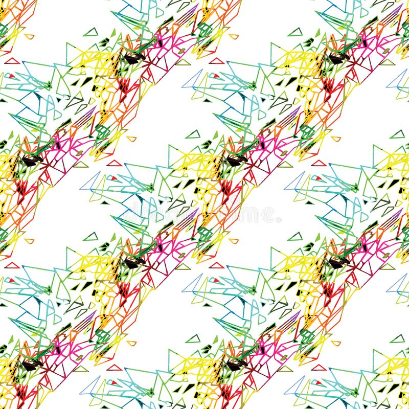 El modelo urbano del grunge inconsútil abstracto con la flecha, líneas, pintada, forma texturizó los elementos, tinta Fondo brill stock de ilustración
