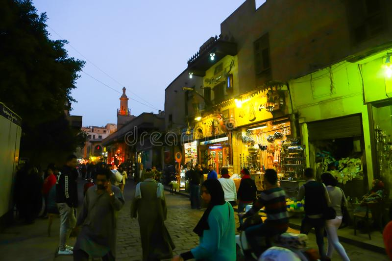 El Moez st., Old Cairo, Egypt. Islamic old Cairo places and historic building stock photos