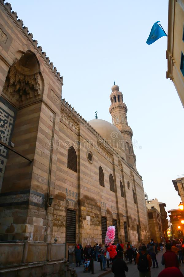 El Moez st., Old Cairo, Egypt. Islamic old Cairo places and historic building royalty free stock image