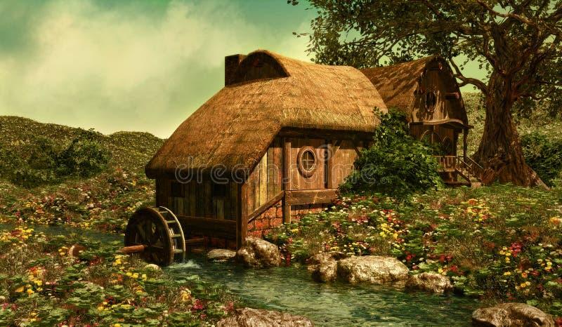 El molino de agua stock de ilustración