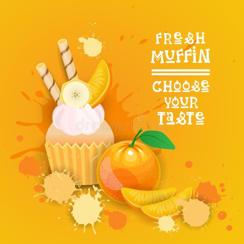 El mollete fresco elige su comida deliciosa del postre de Logo Cake Sweet Beautiful Cupcake del gusto ilustración del vector