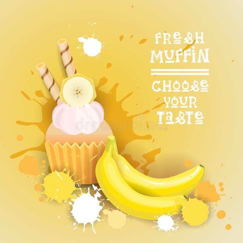 El mollete fresco elige su comida deliciosa del postre de Logo Cake Sweet Beautiful Cupcake del gusto stock de ilustración