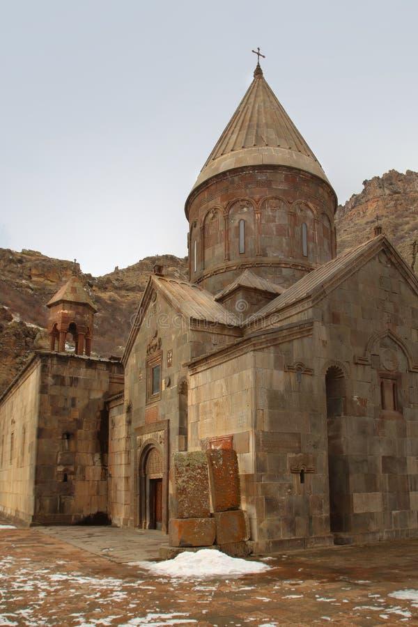 El monasterio en invierno, Armenia de Geghard fotografía de archivo