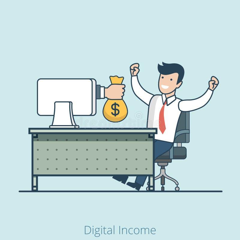 El monitor plano linear de la mano da al hombre de bolso del dinero libre illustration