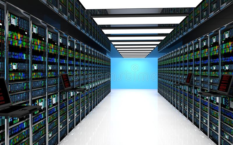 el monitor terminal en sitio del servidor con el servidor atormenta en interior del datacenter stock de ilustración