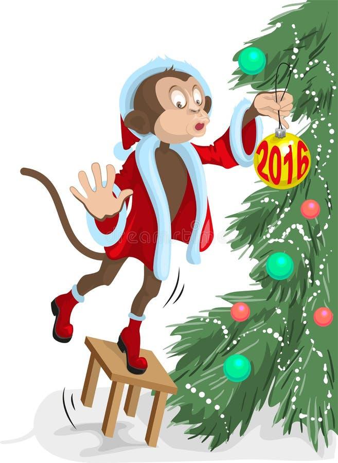 El mono de Papá Noel cuelga en la bola del árbol de navidad en 2016 ilustración del vector