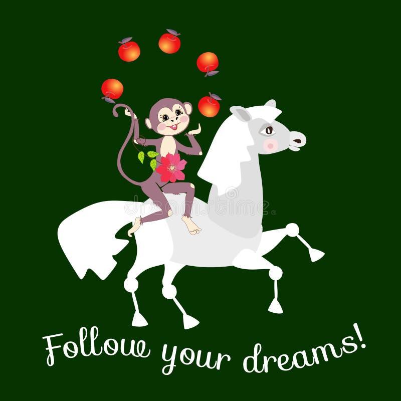 El mono lindo que monta un caballo hace juegos malabares con las manzanas ¡La tarjeta sigue sus sueños! Plantilla del vector stock de ilustración