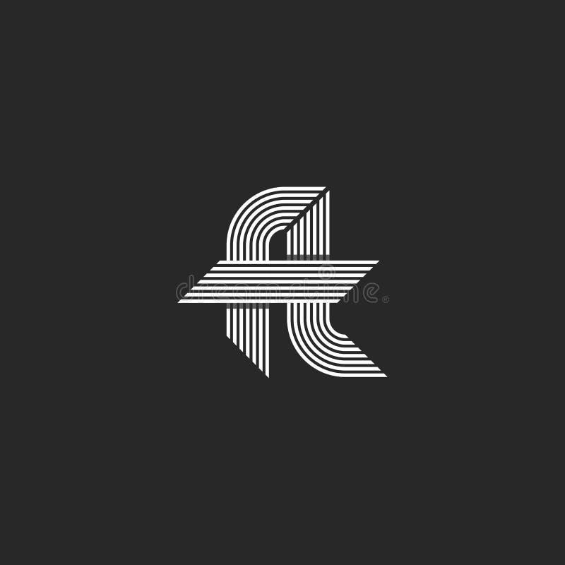 El monograma de la idea del logotipo del pie de las letras, el inconformista ligado f y los símbolos de t, las líneas paralelas f ilustración del vector
