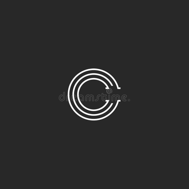 El monograma del logotipo de la letra de C, emblema linear del estilo mínimo, paralelo blanco y negro alinea el emblema simple libre illustration