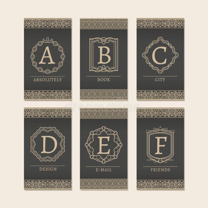 El monograma letra tarjetas de A a de F libre illustration