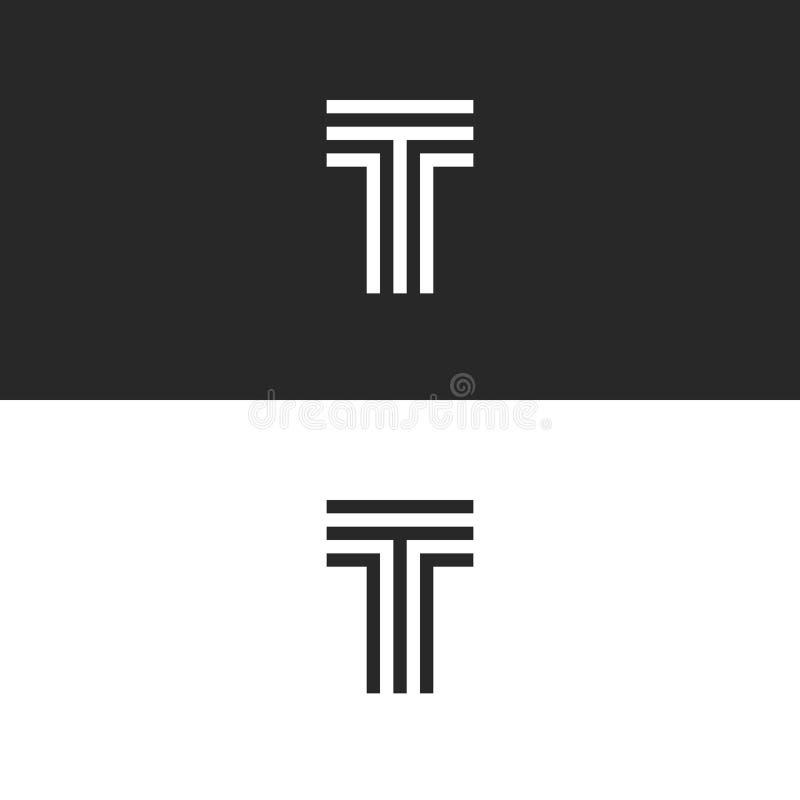 El monograma más simple de la letra del logotipo T, elemento mínimo linear del diseño de la tipografía del estilo de la inicial d stock de ilustración