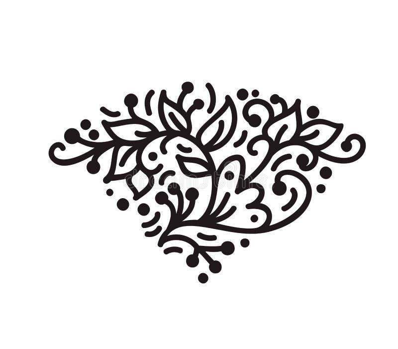 El monoline escandinavo del vintage prospera vector del monograma con las hojas y las flores Esquinas y divisores para día de San stock de ilustración