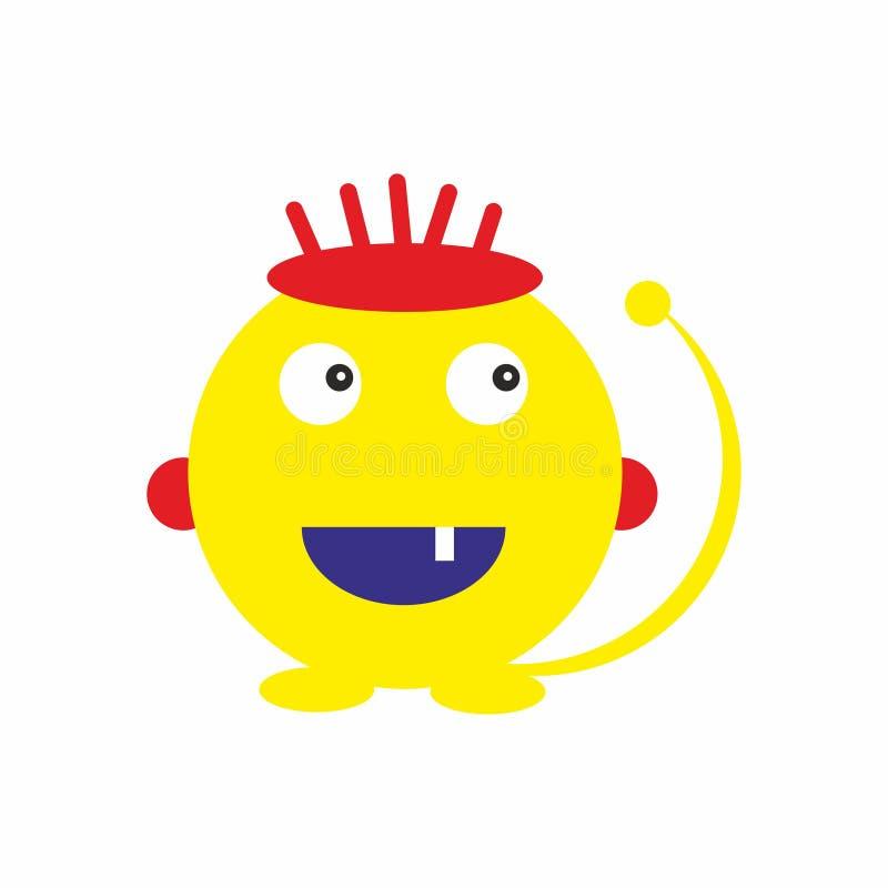 El monstruo amarillo de la diversión embroma vector amistoso del ejemplo del icono stock de ilustración