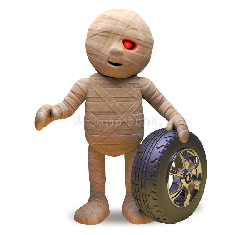 El monstruo egipcio de la momia vende los neumáticos y las ruedas del coche durante la semana, ejemplo 3d stock de ilustración