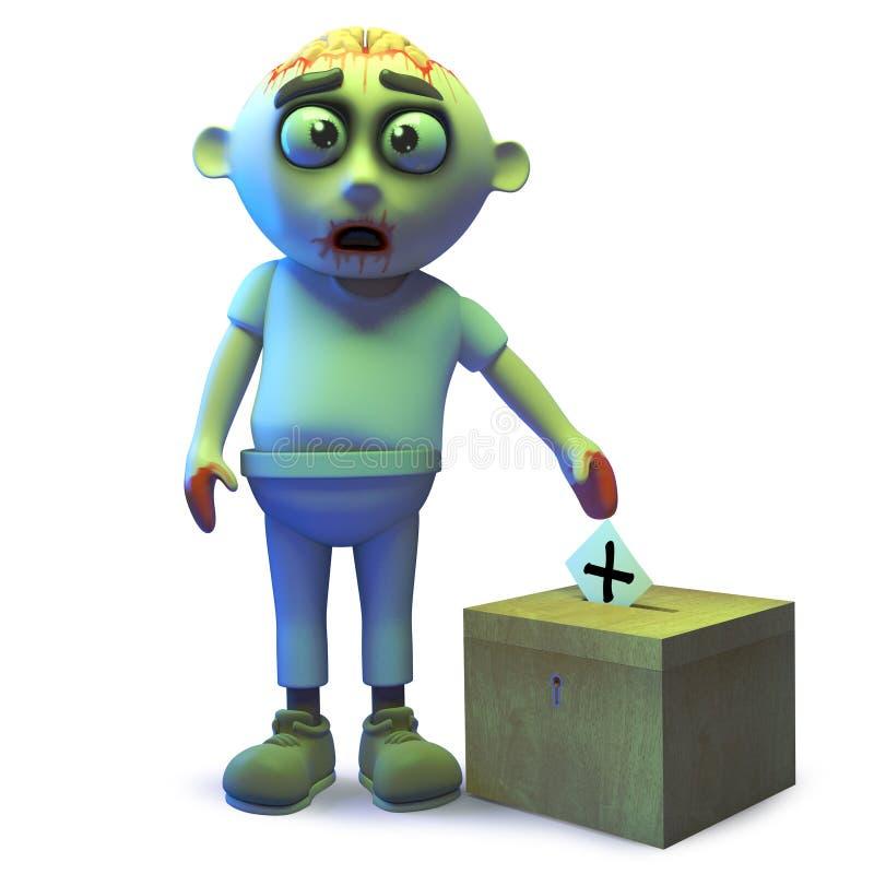 El monstruo estúpido del zombi de los undead emitió su voto en la urna, ejemplo 3d ilustración del vector
