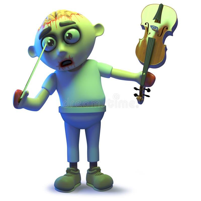 El monstruo estúpido del zombi de los undead empuja su ojo con un arco de violín, ejemplo 3d libre illustration