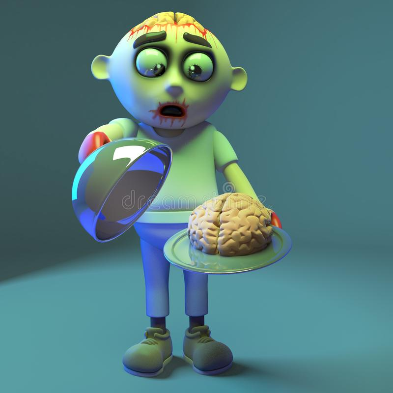 El monstruo hambriento del zombi sirve para arriba un cerebro delicioso, ejemplo 3d ilustración del vector