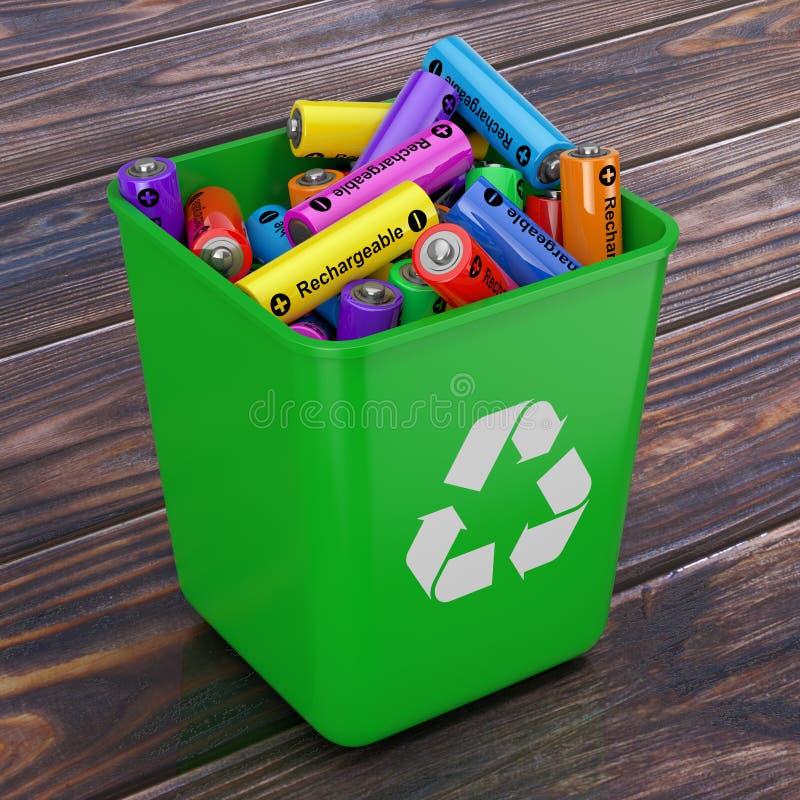 El montón de baterías recargables en cubo verde con recicla la muestra stock de ilustración
