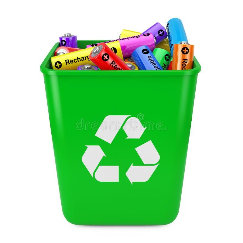 El montón de baterías recargables en cubo verde con recicla la muestra ilustración del vector