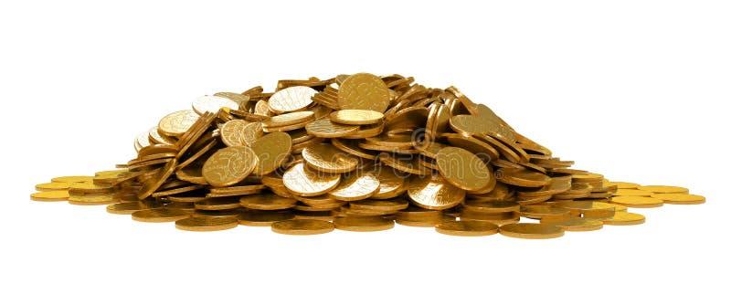 El montón de monedas de oro aisló ilustración del vector