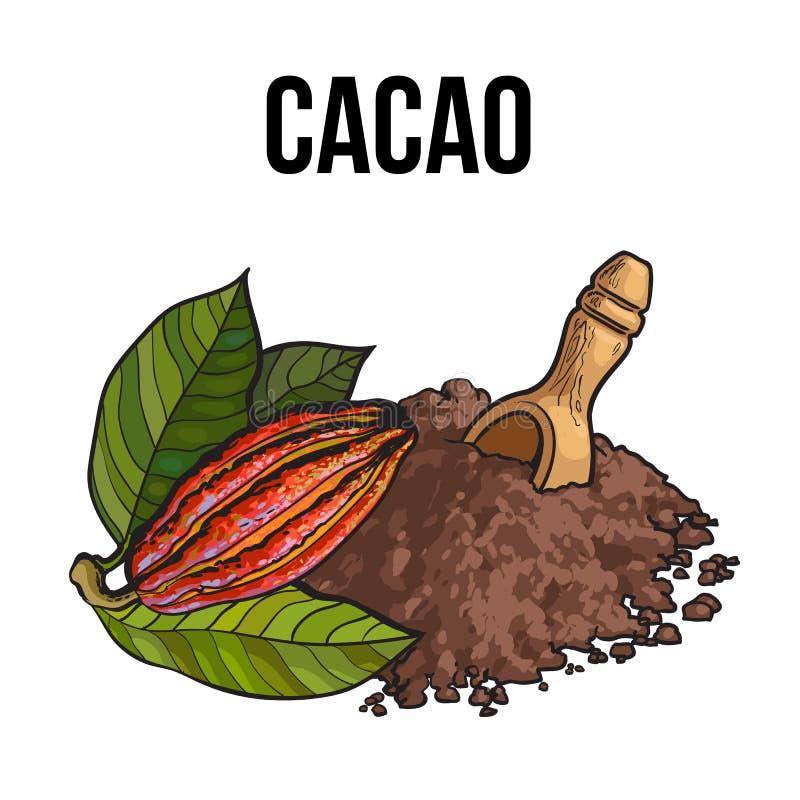 El montón del polvo de cacao con la cucharada de madera y el cacao dan fruto ilustración del vector