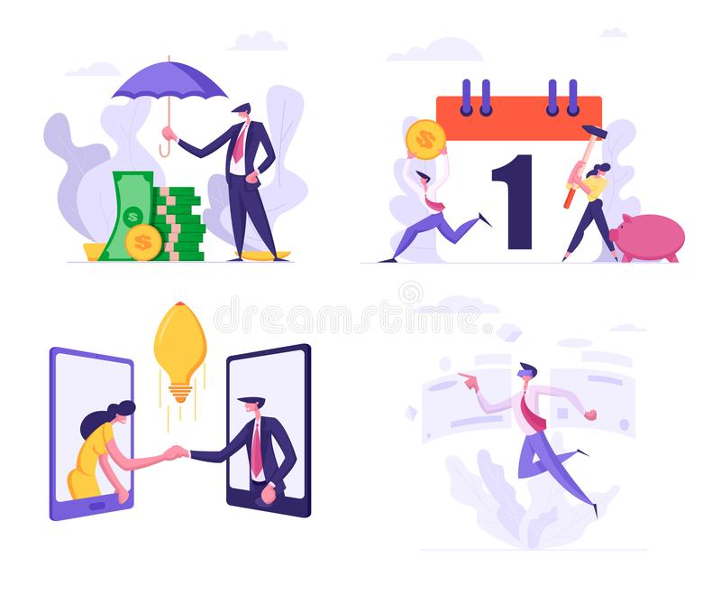 El montón determinado de la cubierta del hombre de negocios del dinero de los billetes de banco con el paraguas, gente rompe la h stock de ilustración