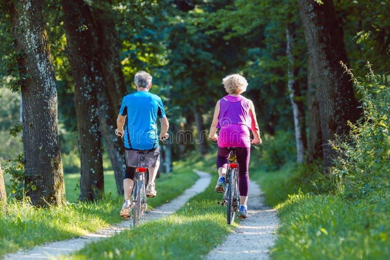 El montar a caballo mayor feliz y activo de los pares monta en bicicleta al aire libre en el parque fotografía de archivo