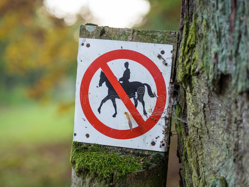 El montar a caballo prohibido o prohibido firma adentro negro, blanco, rojo en bosque cerca de Berlín, Alemania imágenes de archivo libres de regalías