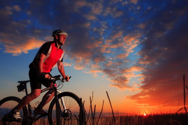 El montar del ciclista de la bici de montaña al aire libre fotos de archivo