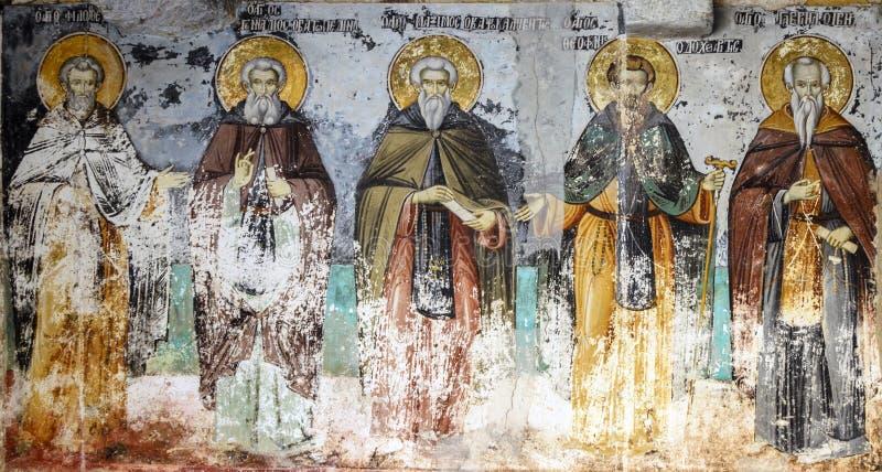 El monte Athos, Grecia - 27 de marzo de 2017: Frescos viejos del santo fotografía de archivo libre de regalías