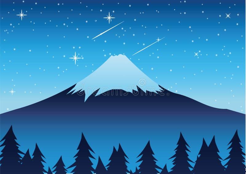 El monte Fuji en la señal famosa de la escena de la noche de Japón stock de ilustración