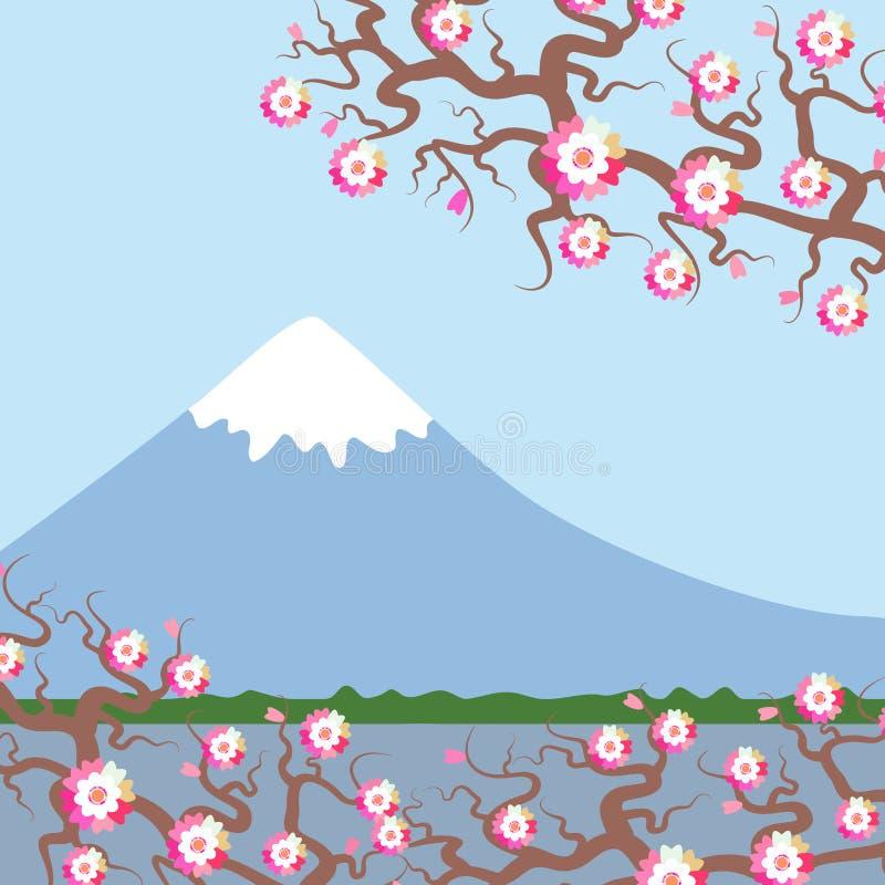 El monte Fuji, fondo de la naturaleza de la primavera con las flores de cerezo japonesas, flores rosadas de Sakura ajardina Lago  stock de ilustración