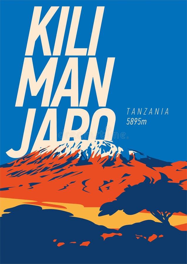 El monte Kilimanjaro en cartel al aire libre de la aventura de África, Tanzania El volcán más alto en el ejemplo de la tierra stock de ilustración