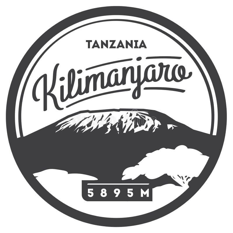 El monte Kilimanjaro en insignia al aire libre de la aventura de África, Tanzania El volcán más alto en el ejemplo de la tierra ilustración del vector