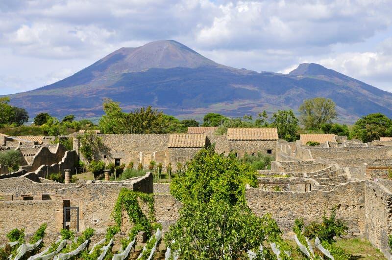 El monte Vesubio según lo visto de los di Pompeya, Italia de Scavi fotografía de archivo libre de regalías