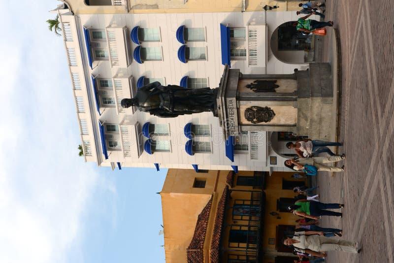 El monumento al fundador del conquistador Don Pedro de Heredia de Cartagena Cartagena imagen de archivo libre de regalías